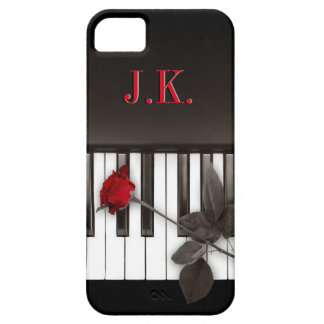Piano Keys Red Rose Music Monogram iPhone5 case iPhone 5 Covers
