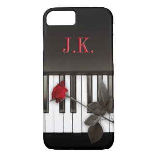 Piano Keys Red Rose Music Monogram iPhone 7 case