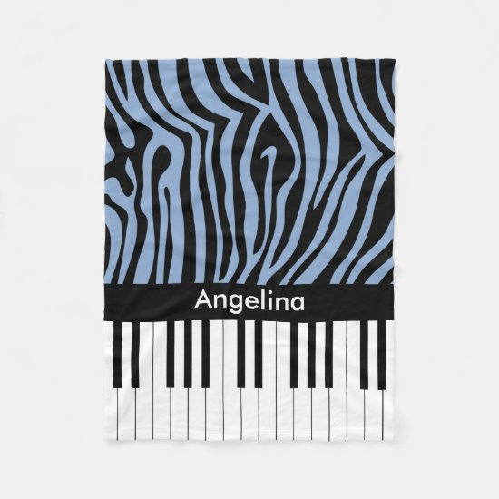 Piano Keys Sky Blue and black Zebra Print Fleece Blanket