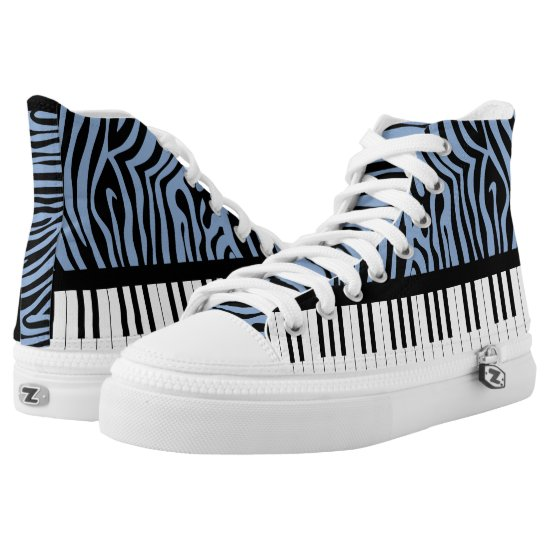 Piano Keys Sky Blue and black Zebra Print High-Top Sneakers