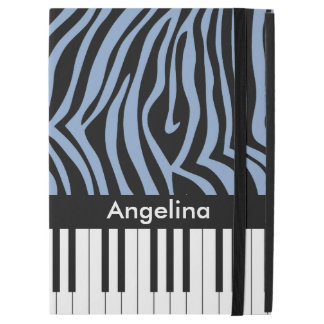 "Piano Keys Sky Blue and black Zebra Print iPad Pro 12.9"" Case"