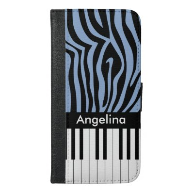 Piano Keys Sky Blue and black Zebra Print iPhone 6/6S Plus Wallet Case
