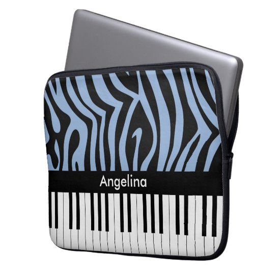 Piano Keys Sky Blue and black Zebra Print Laptop Sleeve