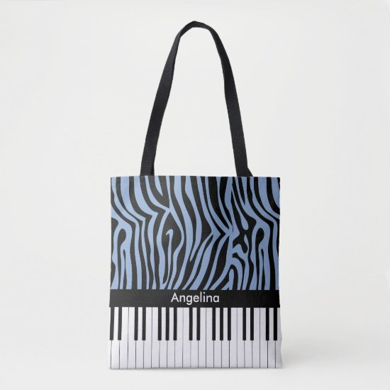 Piano Keys Sky Blue and black Zebra Print Tote Bag