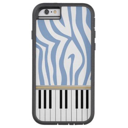 Piano Keys Sky Blue Zebra Print Tough Xtreme iPhone 6 Case