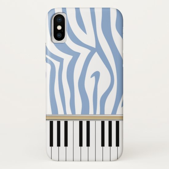 Piano Keys Sky Blue Zebra Print iPhone XS Case