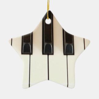 Piano Keys Star Ceramic Ornament