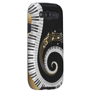 Piano Keys Swirled with Gold Musical Notes Galaxy SIII Cover