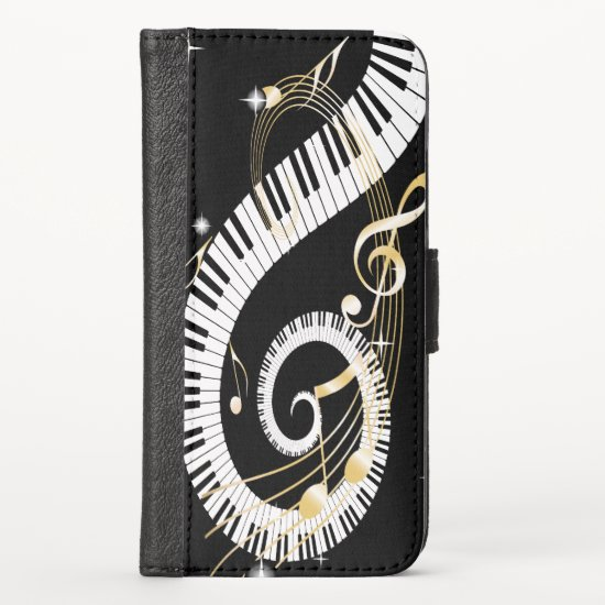 Piano Keys swirling Golden Music Notes iPhone XS Wallet Case