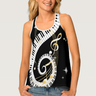 Piano Keys swirling Golden Music Notes Tank Top
