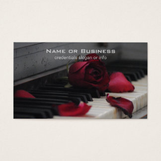 Piano Keys with a Red Rose Business Card