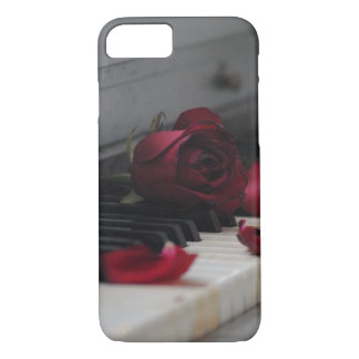Piano Keys with a Red Rose iPhone 7 Case