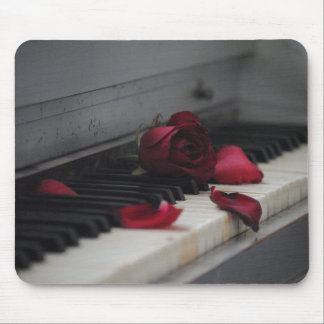 Piano Keys with a Red Rose Mouse Pad