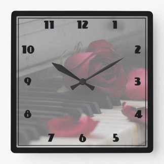 Piano Keys with a Red Rose Square Wall Clock