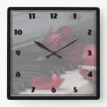 Piano Keys with a Red Rose Square Wall Clocks