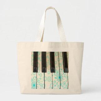 Piano Keys with Aqua Circles Canvas Bag