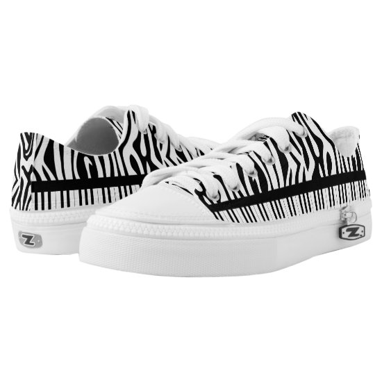 Piano Keys with black and white Zebra Print Low-Top Sneakers