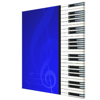 Piano Keys with Blue effect musical notes Canvas Print
