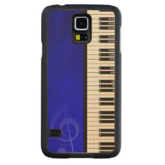 Piano Keys with Blue effect musical notes Carved Maple Galaxy S5 Slim Case