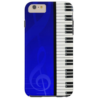 Piano Keys with Blue effect musical notes Tough iPhone 6 Plus Case