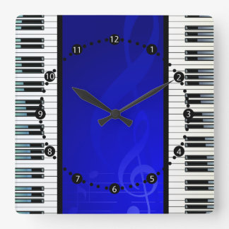 Piano Keys with Blue Effect Musical Notes Square Wallclocks