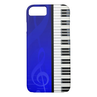 Piano Keys with Blue effect musical notes iPhone 7 Case