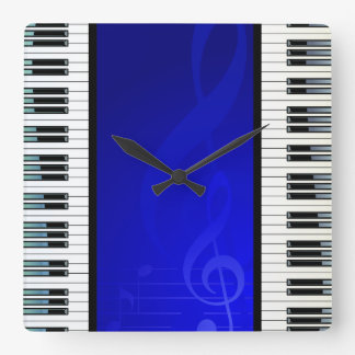 Piano Keys with Blue Effect Musical Notes Square Wall Clock