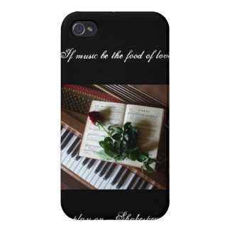 Piano keys with Book and Rose-Shakespeare quote Case For iPhone 4