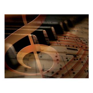 Piano Keys with Clef Postcard