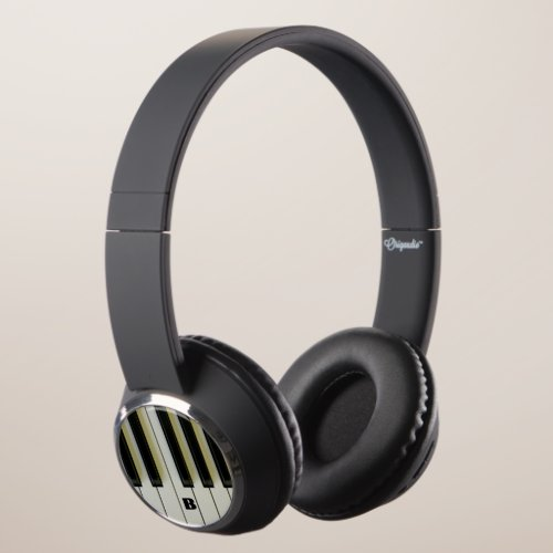 Piano Keys with Customizable Initials Headphones