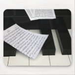 Piano keys with music mouse pad