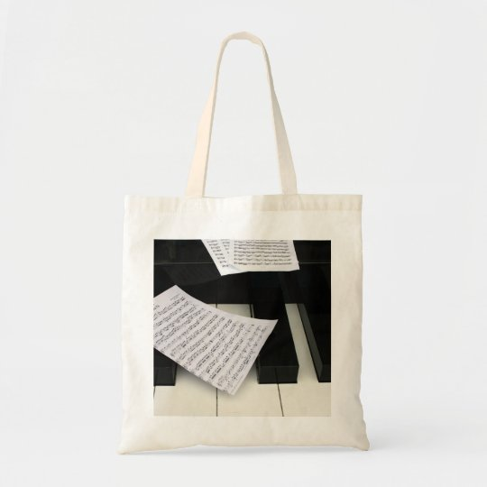 Piano keys with music tote bag