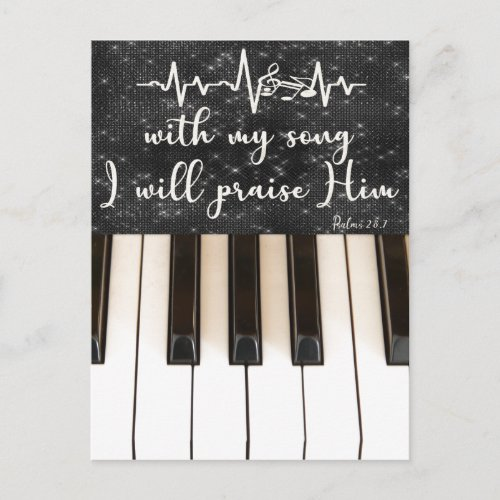 Piano Keys with Psalms Bible Verse Quote Postcard