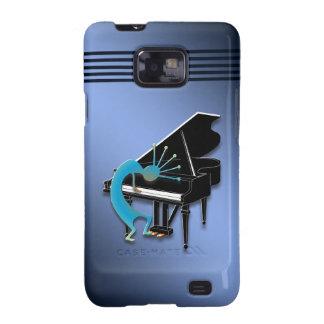 Piano Kokopelli in Blue Galaxy S2 Case