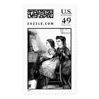 Piano Lesson Postage Stamp