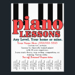"""Piano Lessons. Tutor. Music Teacher. Tear sheet<br><div class=""""desc"""">Bold, graphic, eye-catching customizable tear sheet flyer to advertise piano and/or music lessons. (piano tuning also available. see below) Makes a very thoughtful, personal and practical gift for anyone you may know that is musically gifted and seeking to begin their own piano lessons business or to enhance the one they...</div>"""