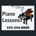 "Piano Lessons Yard Sign<br><div class=""desc"">Earning a little extra income teaching piano or keyboard? Bring in more business with this attractive music lessons yard sign, with graphics of an baby grand piano with a wavy musical staff coming from the piano. Text in bold black is ready to personalize for your business. Design and text are...</div>"