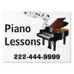 Piano Lessons Yard Sign<br><div class='desc'>Earning a little extra income teaching piano or keyboard? Bring in more business with this attractive music lessons yard sign, with graphics of an baby grand piano with a wavy musical staff coming from the piano. Text in bold black is ready to personalize for your business. Design and text are...</div>