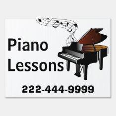 Piano Lessons Yard Sign at Zazzle