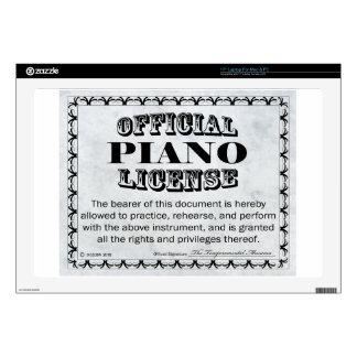 """Piano License 17"""" Laptop Decal"""