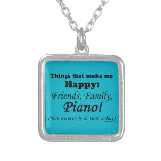 Piano Makes Me Happy Square Pendant Necklace