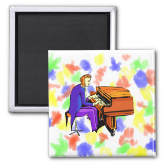 Piano man playing grand piano blue coat 2 inch square magnet