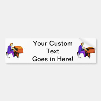 Piano man playing grand piano blue coat bumper sticker