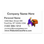 Piano man playing grand piano blue coat business card template