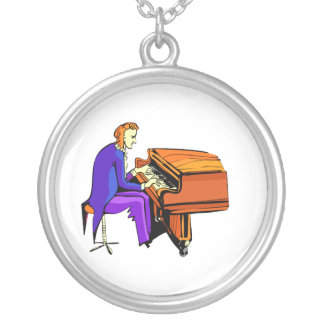 Piano man playing grand piano blue coat necklaces