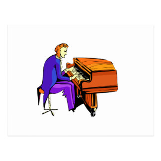Piano man playing grand piano blue coat post card