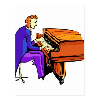 Piano man playing grand piano blue coat post cards