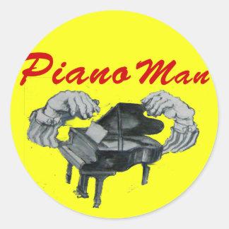 piano man yellow circle classic round sticker