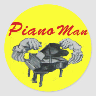 piano man yellow circle round sticker