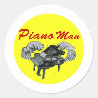 piano man yellow circle sticker
